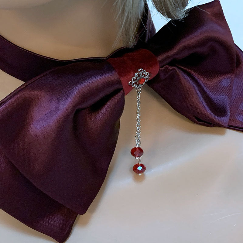 Burgundy Victorian Bow Tie Choker | Gothic Grace