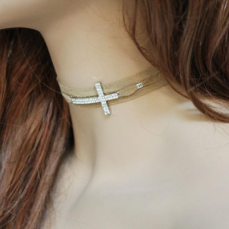 Brown Suede. Rhinestone Sideways Cross Choker - Gothic Grace