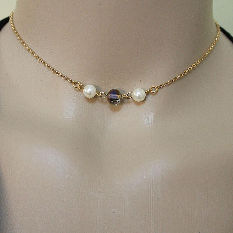 Long Gold Lariat Necklace Backdrop with Pearls and Crystals - Gothic Grace