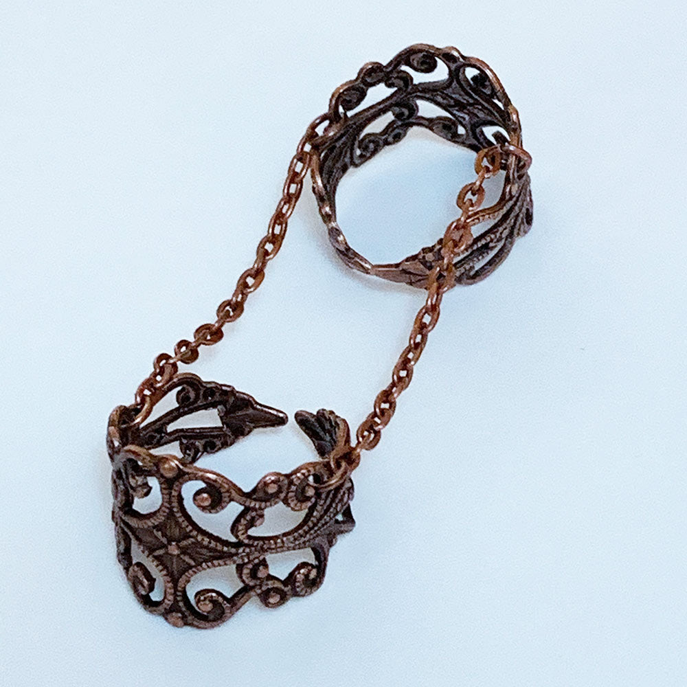 Copper Double Filigree Ring | Gothic Grace