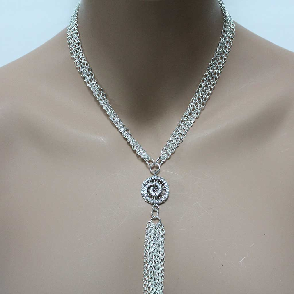 Long Silver Tassel Necklace - Gothic Grace