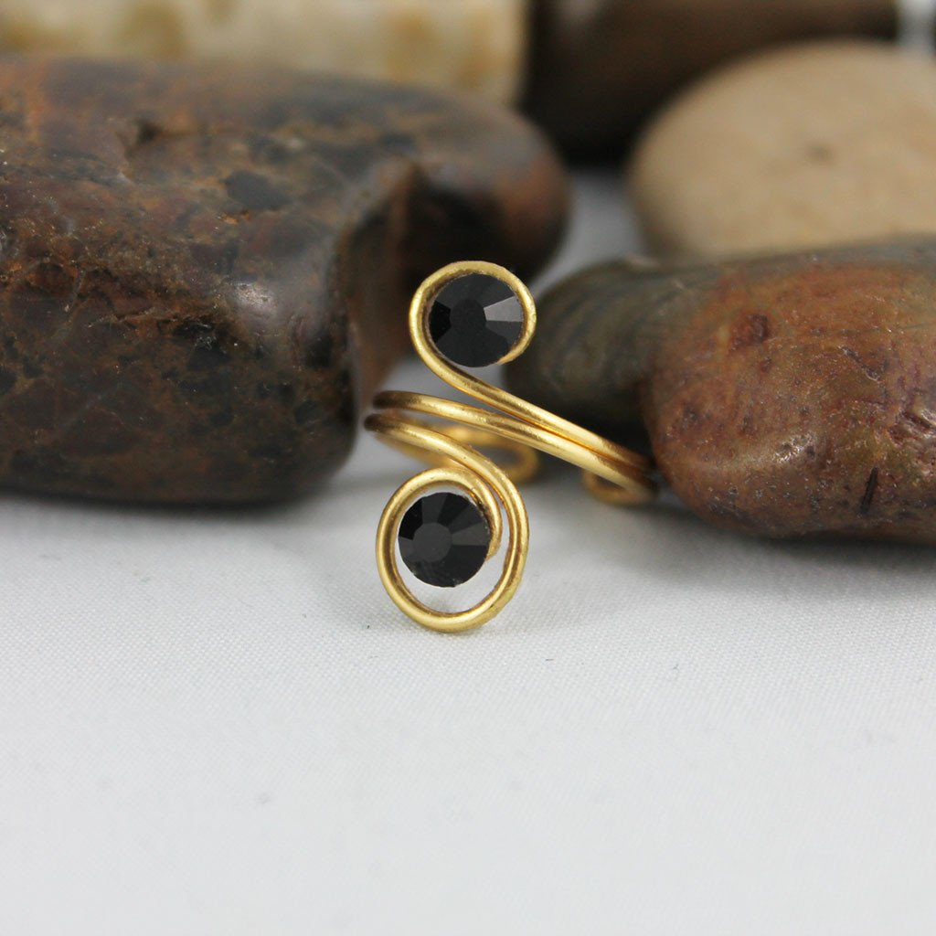 Adjustable Gold Spiral Knuckle Ring - Gothic Grace