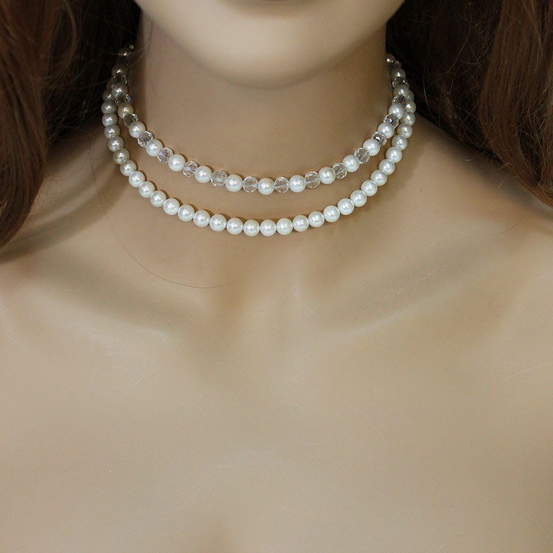 Double Strand Pearl Choker Necklace - Gothic Grace