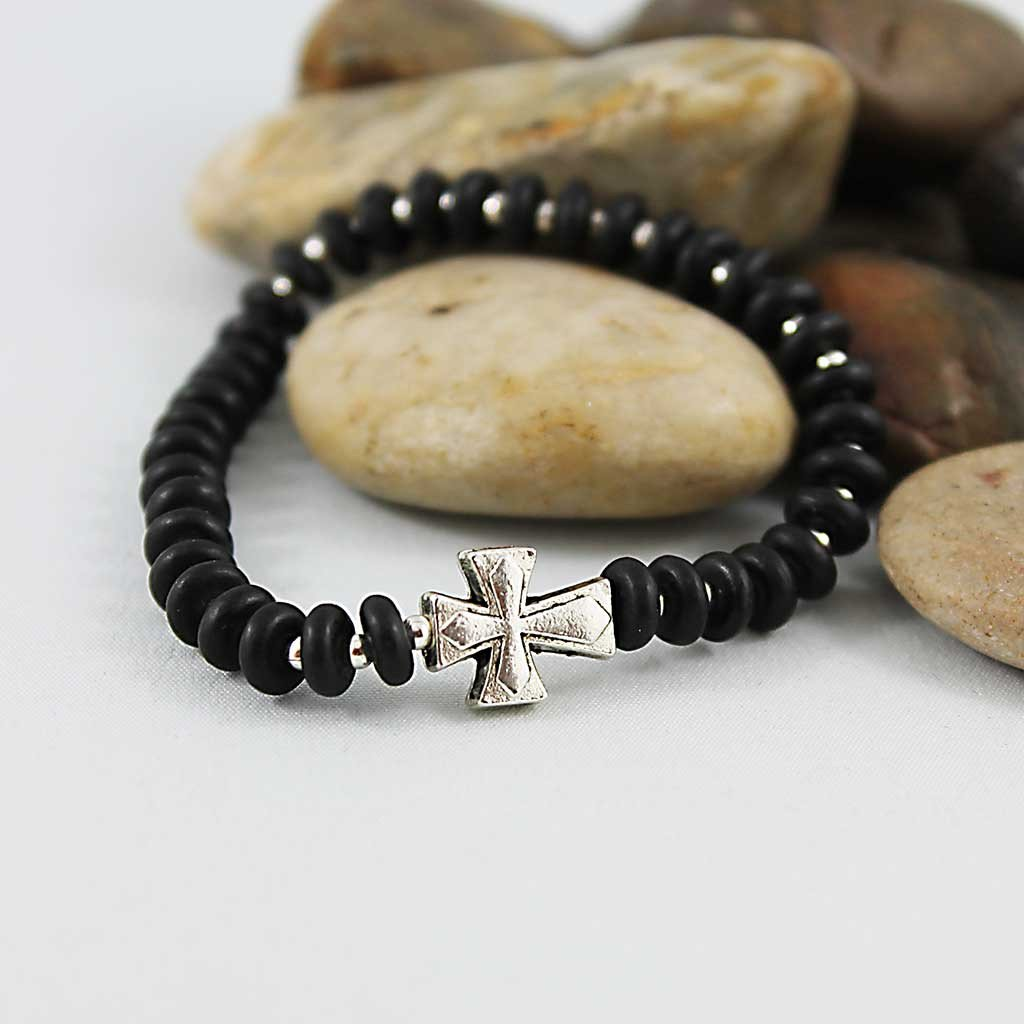 Unisex Black Onyx Disc Beaded Cross Bracelet - Gothic Grace