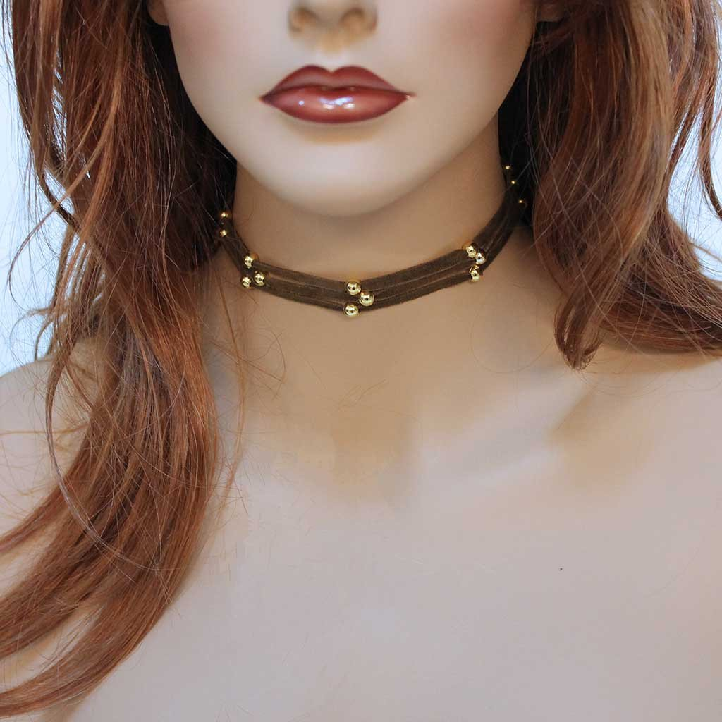 Simple Everyday Gold Bead Choker - Gothic Grace