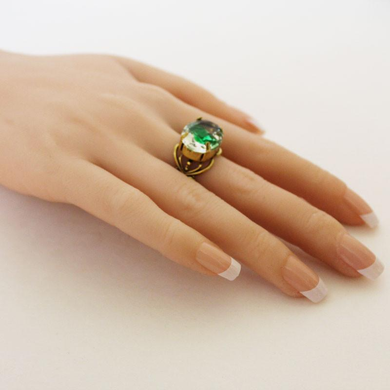 Green Clear Crystal Gold Filigree Adjustable Ring - Gothic Grace
