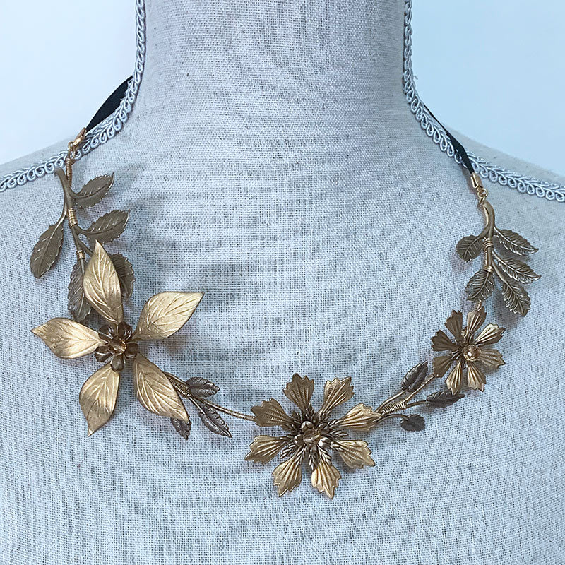 Gold Floral Necklace, Headpiece, Headband, Belt - Gothic Grace