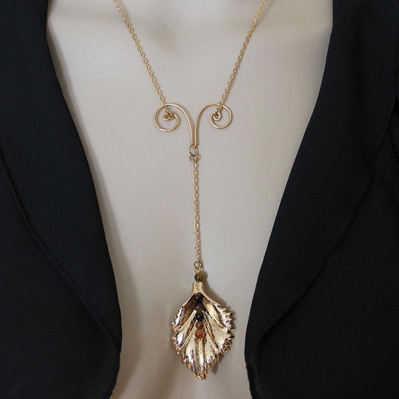 Gold Leaf Y Necklace - Gothic Grace