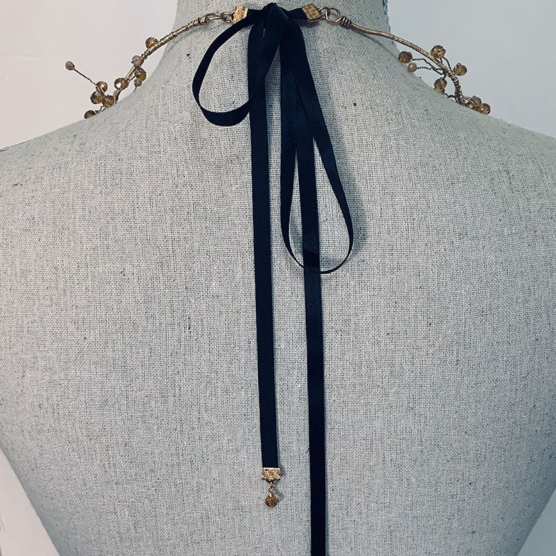 Gold Metal Floral Necklace Headpiece Crown - Gothic Grace
