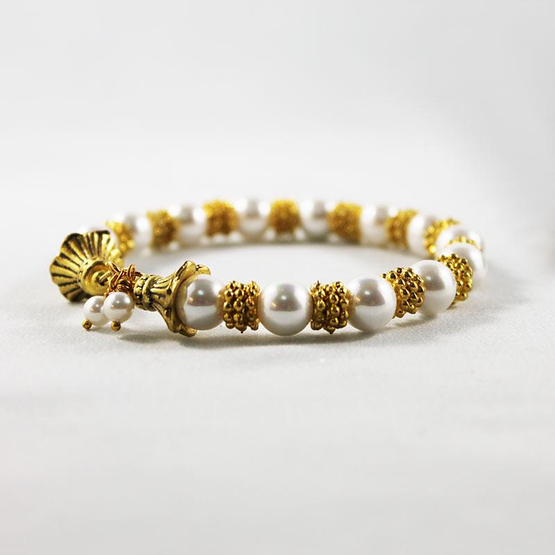 Gold Pearl Bangle Bracelet - Gothic Grace
