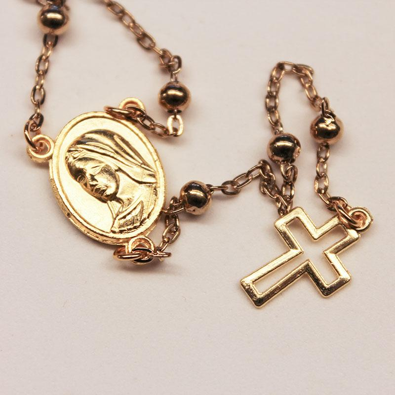 Gold Satellite Chain Rosary Necklace - Gothic Grace