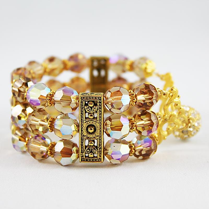 Triple Strand Gold Swarovski Crystal Wedding Cuff Bracelet - Gothic Grace