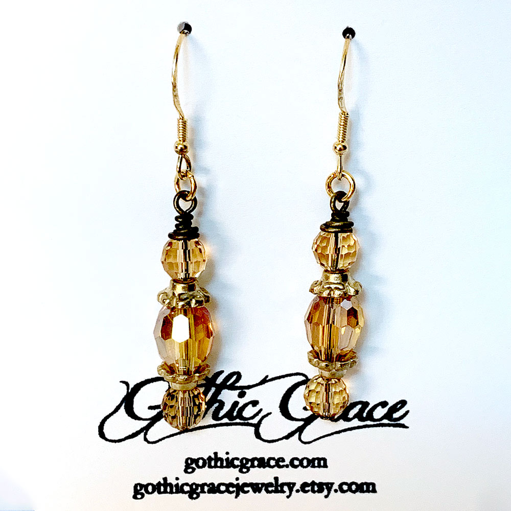 Gold Crystal Victorian Drop Earrings | Gothic Grace
