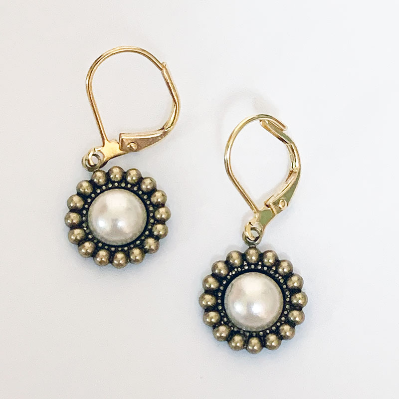 Gold Victorian Pearl Dangle Earrings | Gothic Grace