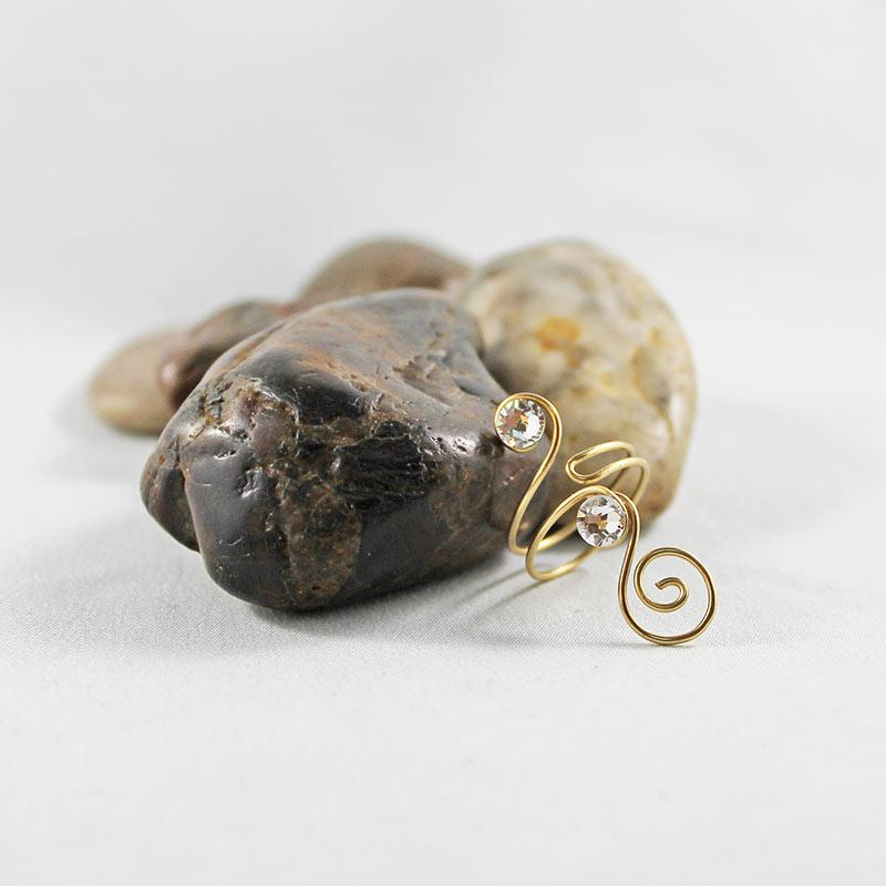 Gold Wire Wrapped Clear Crystal Ring - Gothic Grace