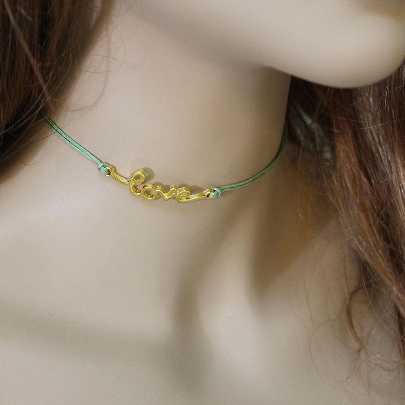 Green Cord 'Love' Choker Necklace - Gothic Grace