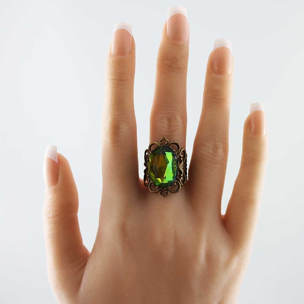 Green Crystal Victorian Filigree Ring - Gothic Grace