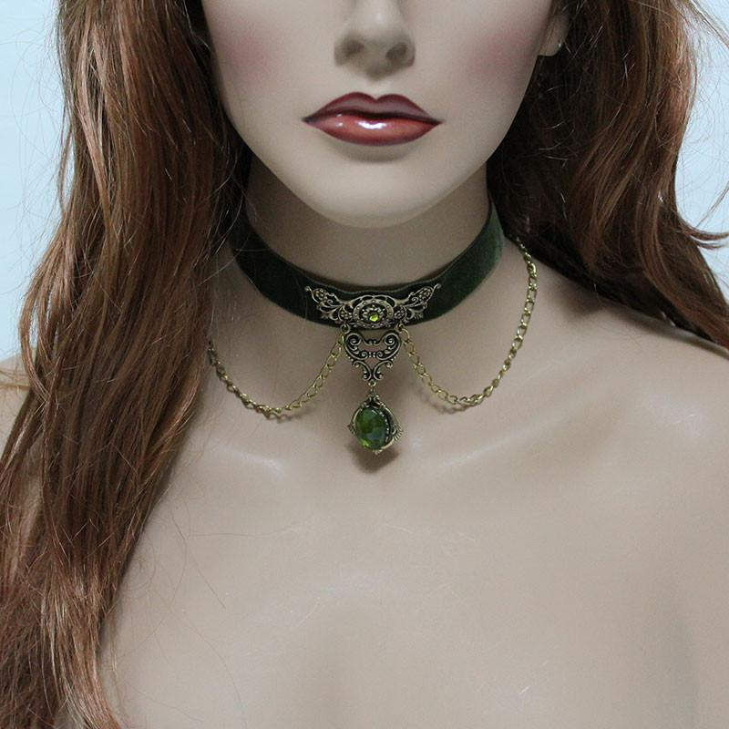 Green Velvet Gothic Victorian Choker Necklace - Gothic Grace