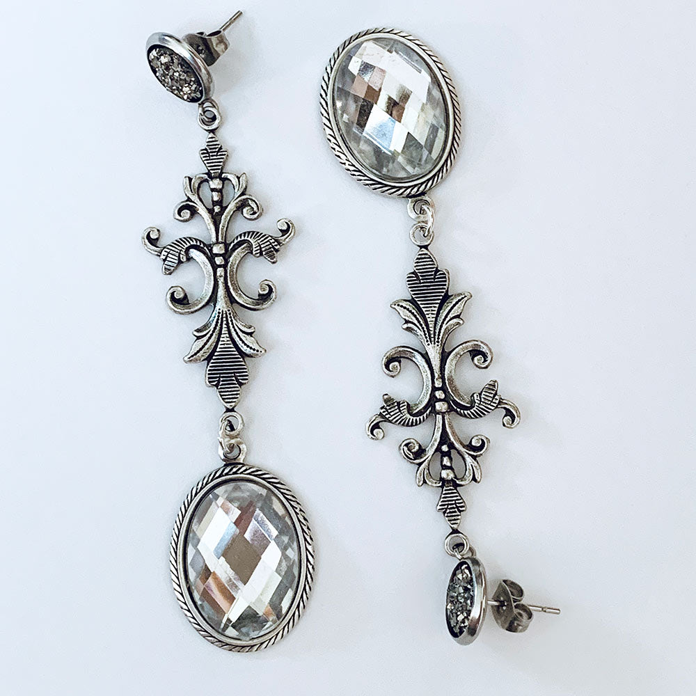 Grey Druzy Clear Crystal Victorian Drop Dangle Earrings | Gothic Grace
