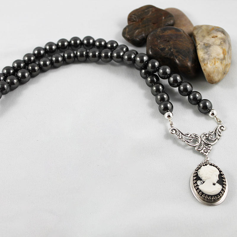 Grey Hematite Victorian Cameo Necklace - Gothic Grace