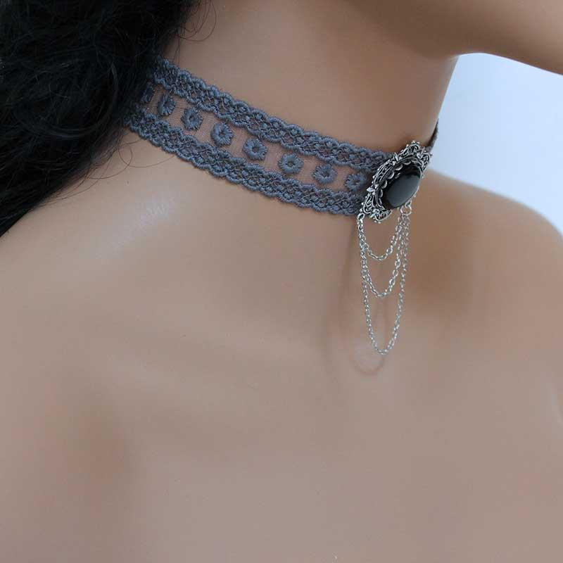 Victorian Choker, Grey Lace Necklace, Romantic Jewellery - Gothic Grace