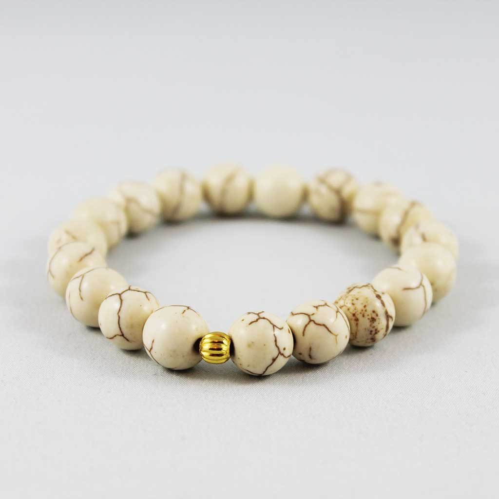 Beaded  Ivory Turquoise Stacking Stretch Bracelet - Gothic Grace