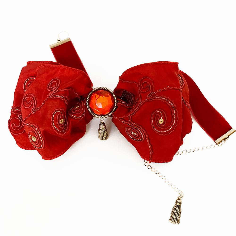 Bright Red Victorian Bow Choker | Gothic Grace