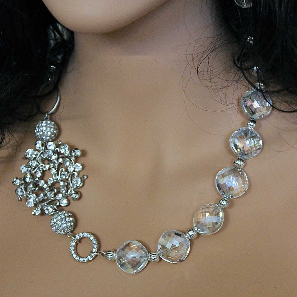 Crystal Rhinestone Bridal Necklace - Gothic Grace