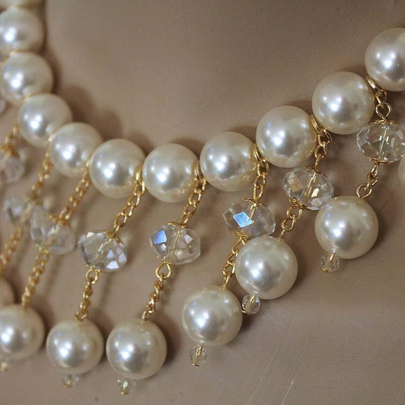 Bridal Pearl Bib Necklace - Gothic Grace