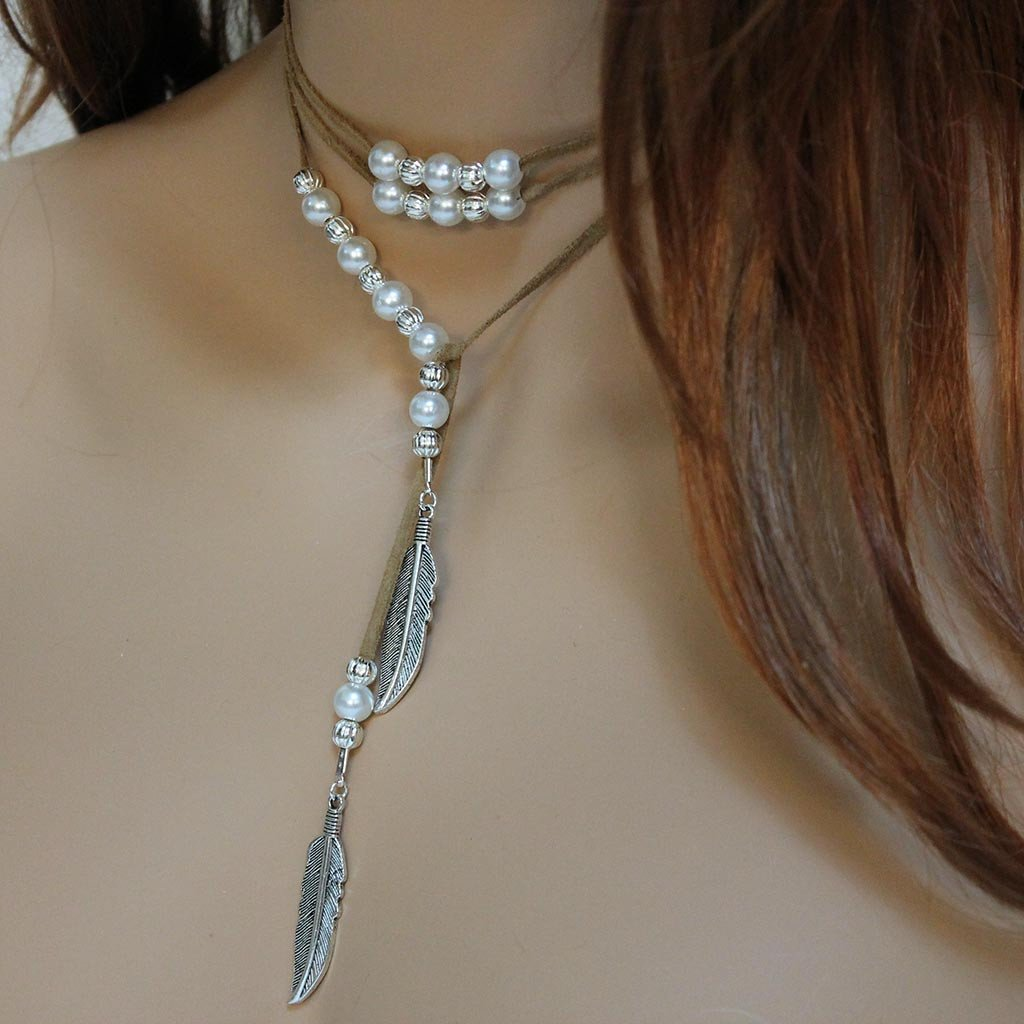 Brown Suede Silver Feather Pearl Lariat Necklace - Gothic Grace