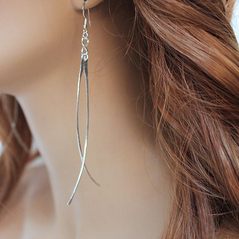 Long Sterling Silver Fashion Earrings - Gothic Grace