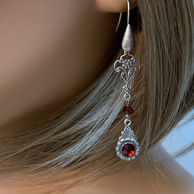 Long Red Crystal Earrings | Gothic Grace