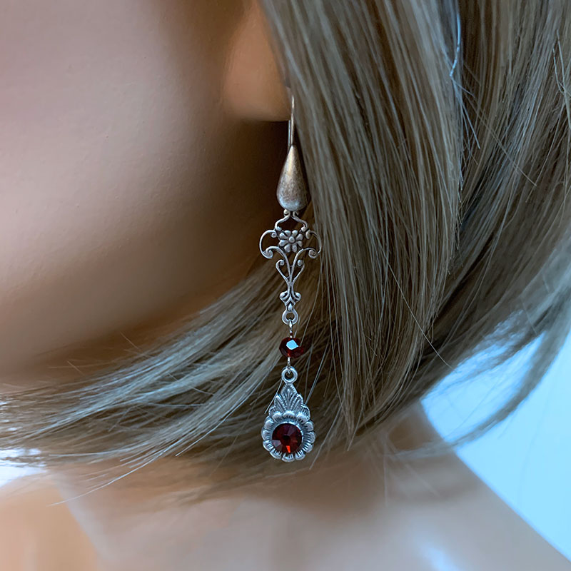 Long Red Crystal Victorian Earrings | Gothic Grace