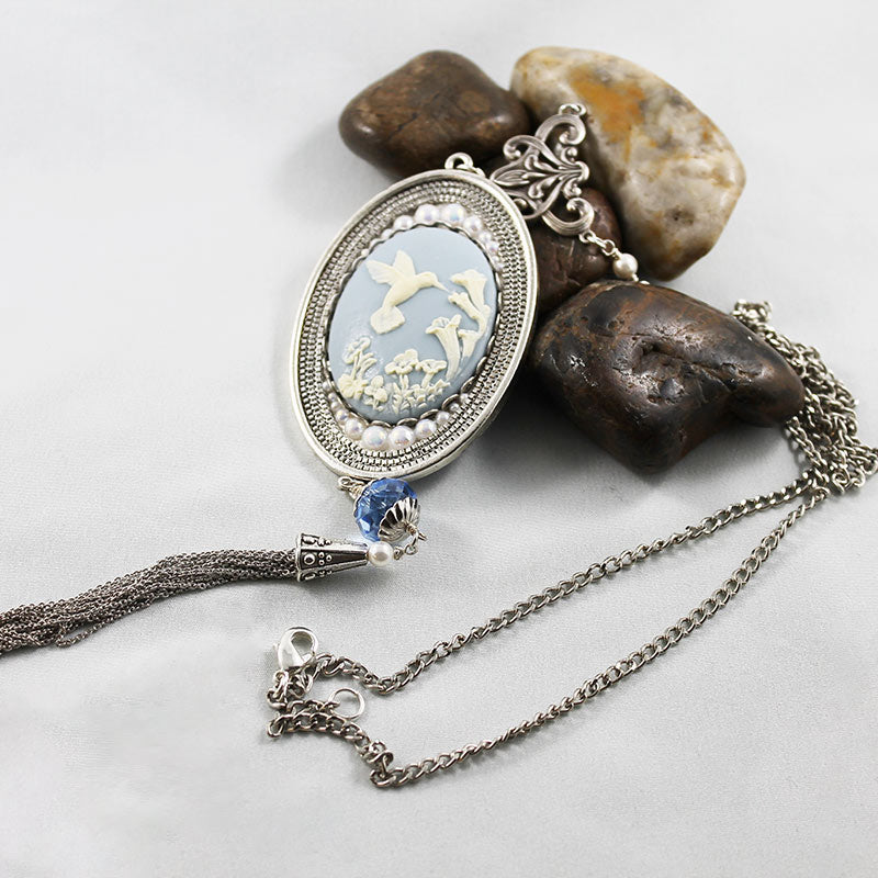 Long Victorian Blue Cameo Pendant Necklace - Gothic Grace