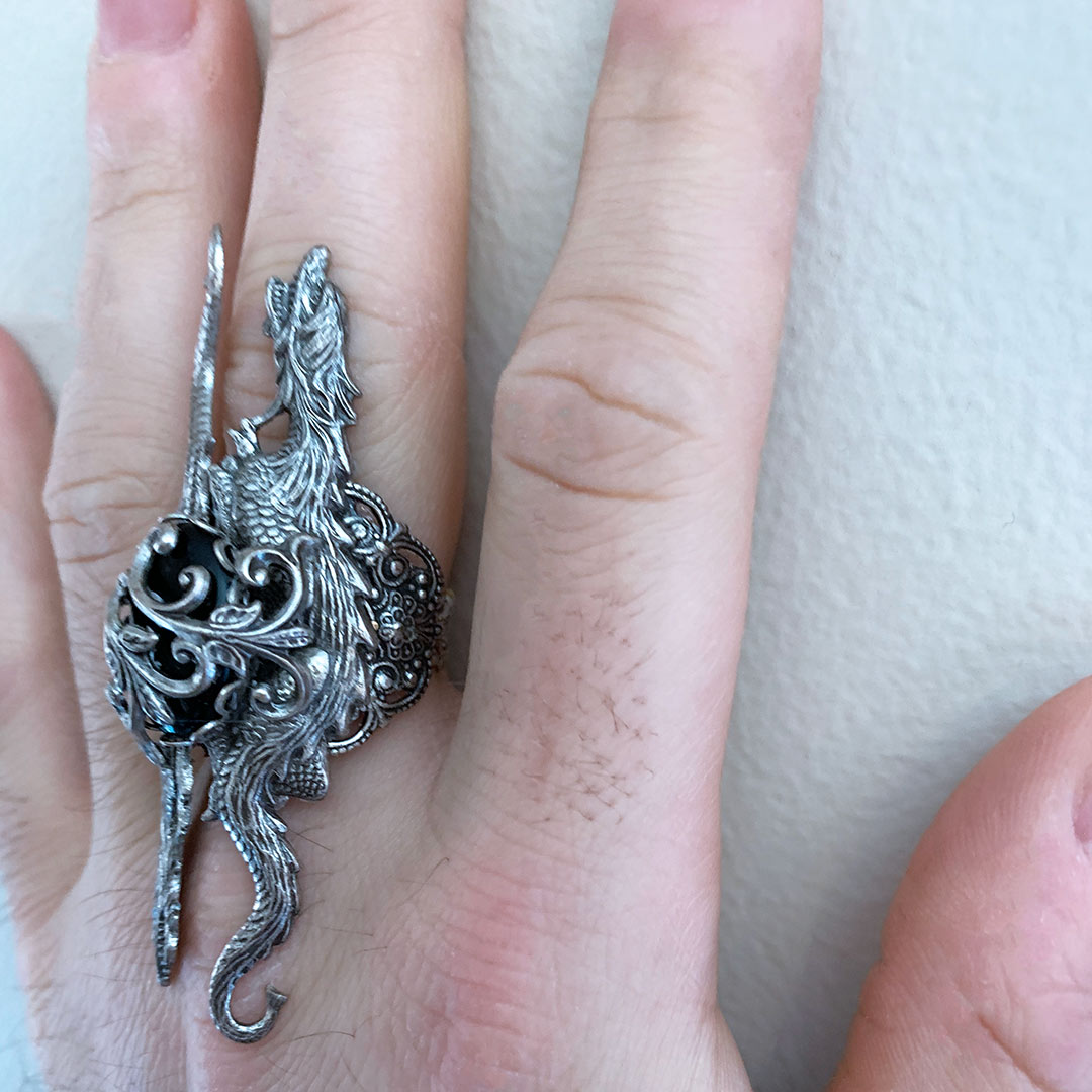 Silver Dragon Statement Ring, Game of Thrones Style Medieval Gothic Ring