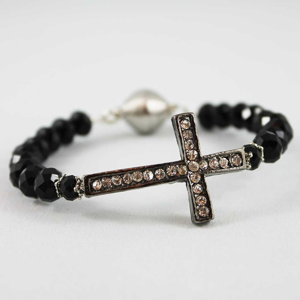 Black Sideways Cross, Magnetic Clasp Bangle - Gothic Grace