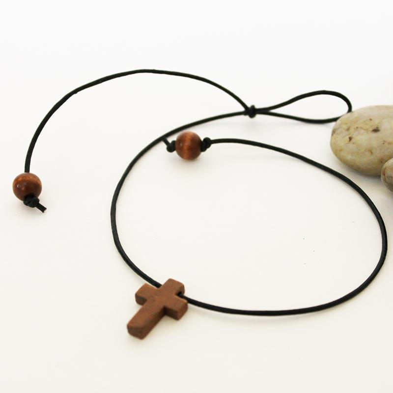 Wooden Cross Gothic Style Pendant Necklace Choker
