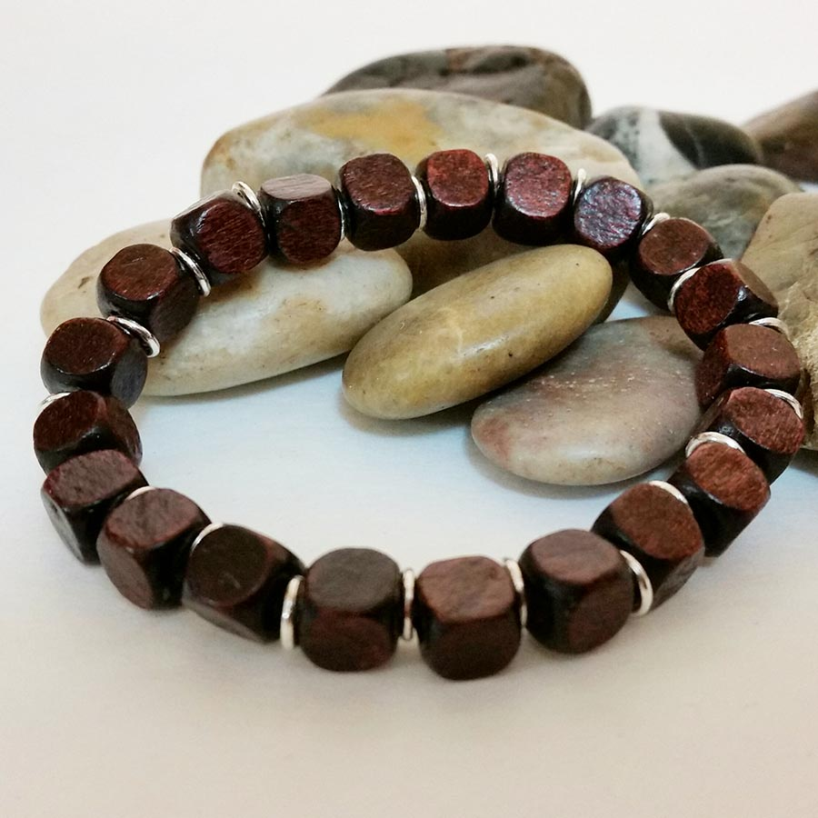 Wood Bead Stretch Bracelet - Gothic Grace