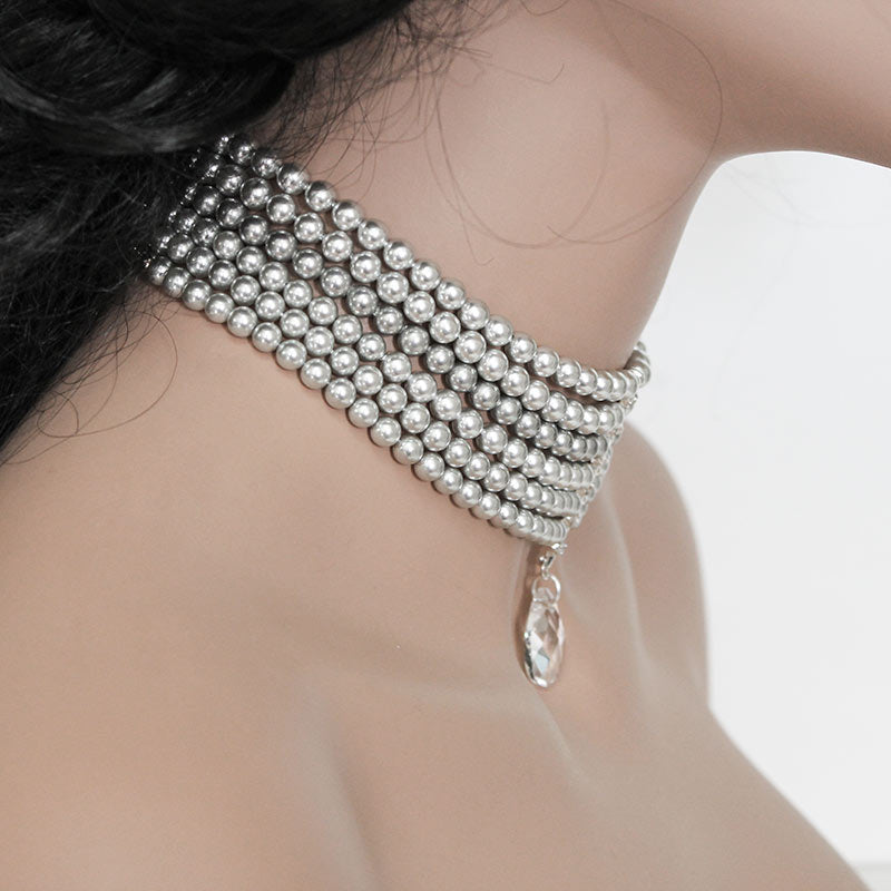 Multi Strand Grey Pearl Choker, Swarovski Crystal Choker Necklace - Gothic Grace