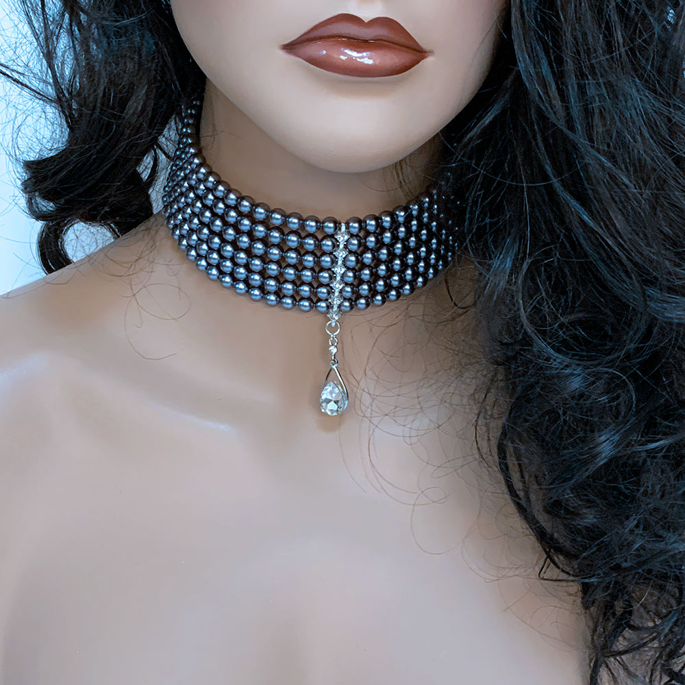 Multi Strand Grey Pearl Bridal Choker Necklace | Gothic Grace