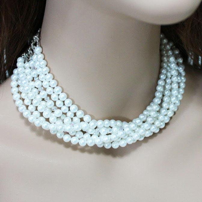 Multi Strand Pearl Crystal Statement Necklace - Gothic Grace