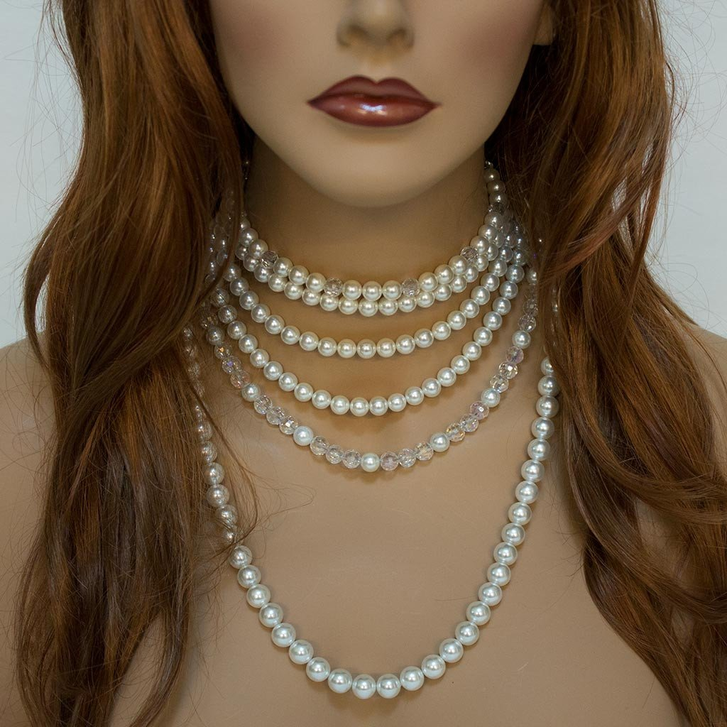 Pearl Crystal Multi Strand Bridal Statement Necklace - Gothic Grace
