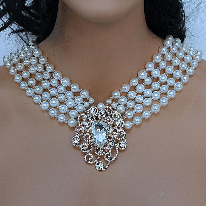 Multi Strand Pearl Bridal Statement Necklace - Gothic Grace