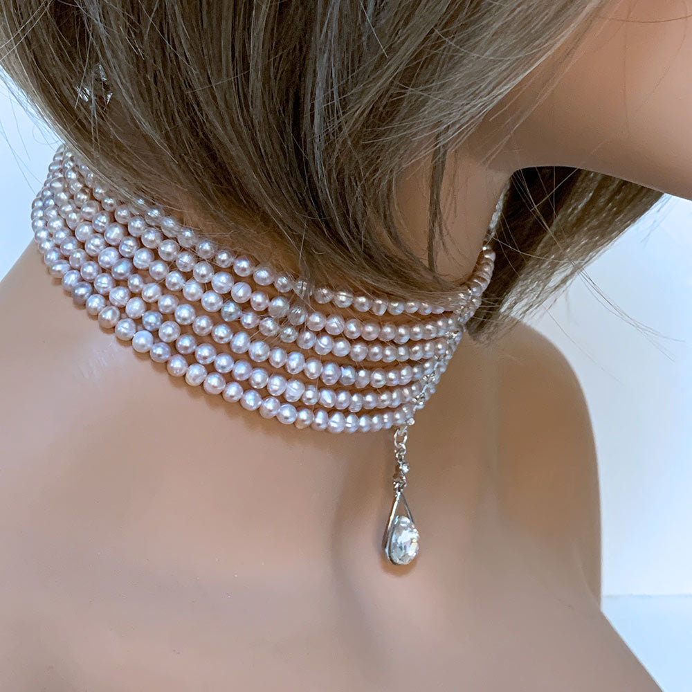 Multi Strand Pink Pearl Bridal Choker Necklace - Gothic Grace