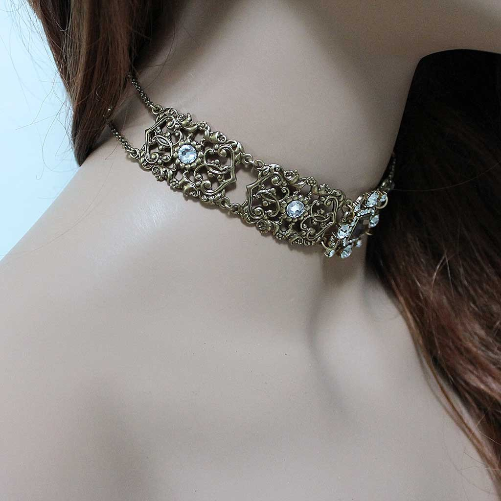 Gold Victorian Bridal Choker - Gothic Grace