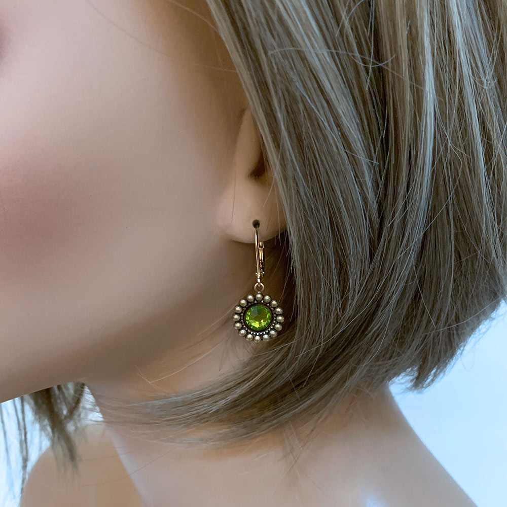 Green Crystal Earrings | Gothic Grace