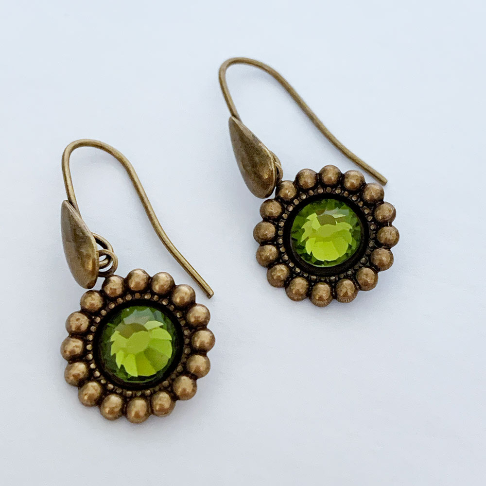 Oxidized Brass Green Crystal Victorian Earrings | Gothic Grace