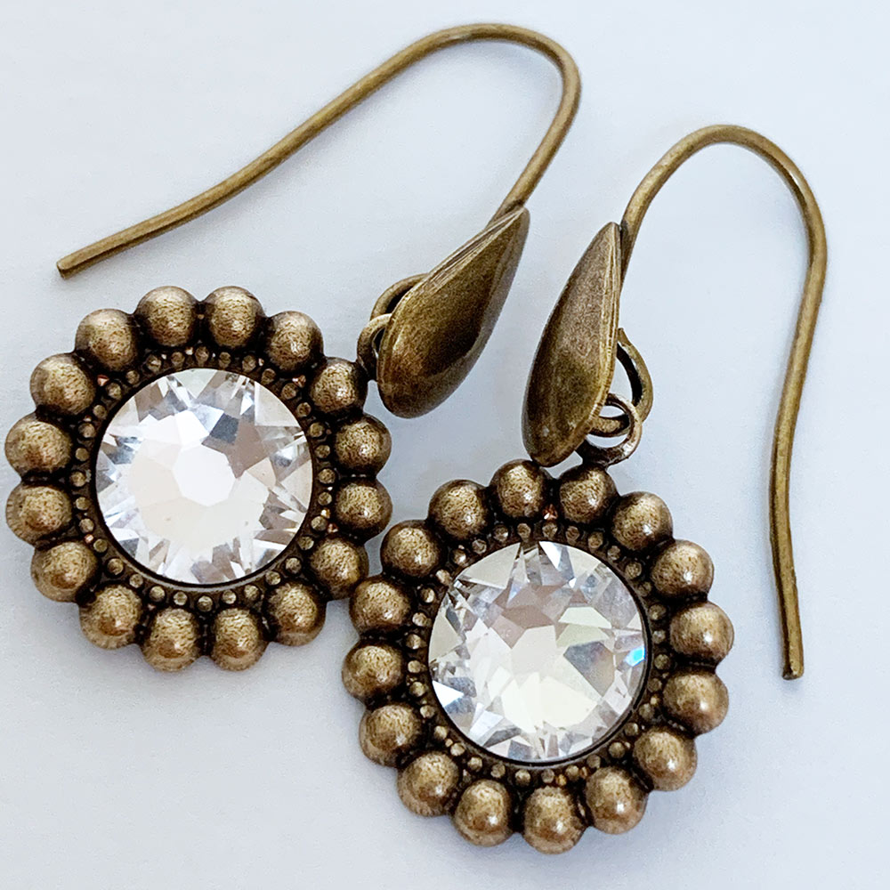 Gold Swarovski Crystal Victorian Drop Earrings | Gothic Grace