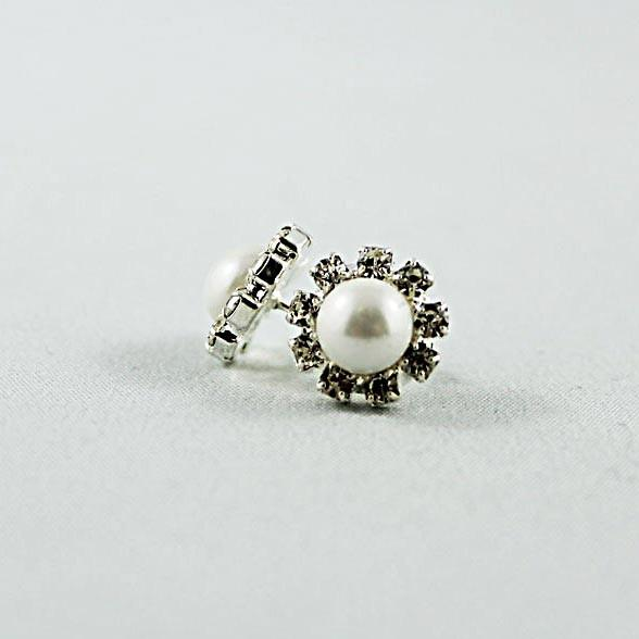 Rhinestone Pearl Post Earrings - Gothic Grace