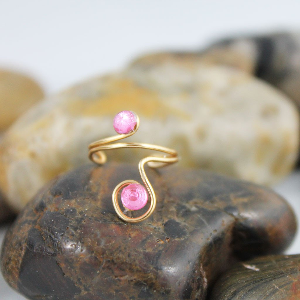 Adjustable Pink Crystal Pinky Ring - Gothic Grace